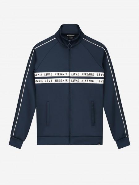 Blue jacket with logo trim