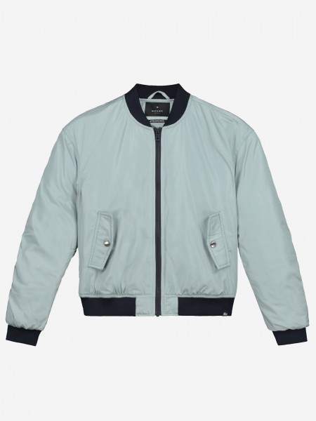 Blue bomber jacket with snake embroidery