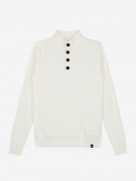 Fine knitted pullover with button
