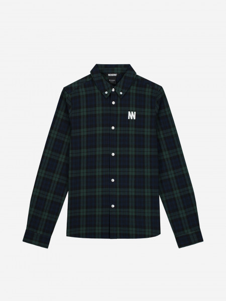 Checked shirt with artwork