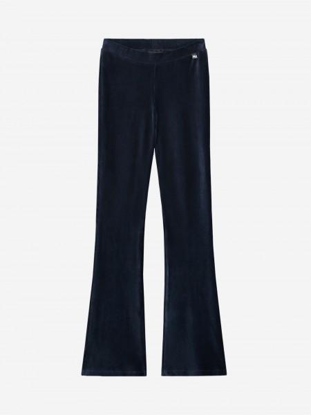 Blauwe legging met wijde pijp