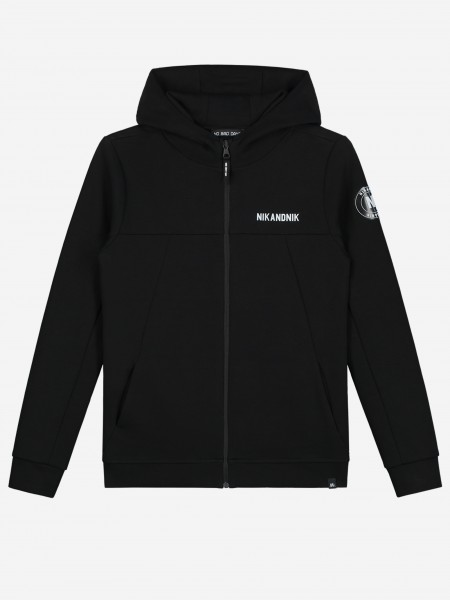 Jacket with zipper and patch