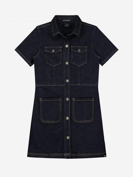 Dark blue denim dress with pockets