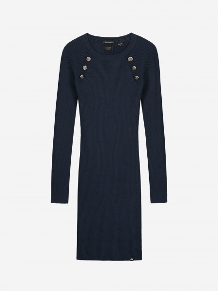 Dress with logo buttons
