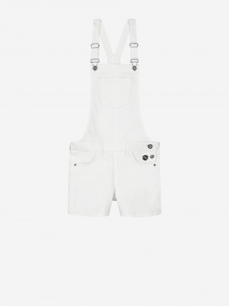 White dungaree with silver buckle