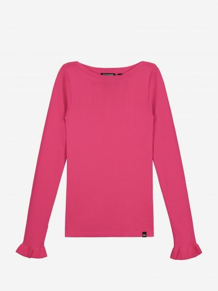Roze top met ruffle mouweinden