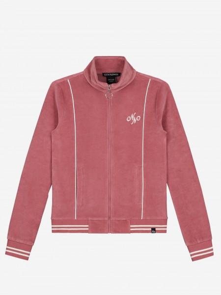 Velvet jacket with zipper closure