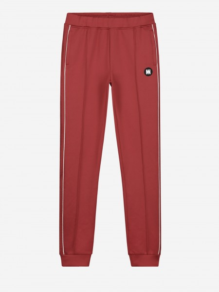 Red trackpants with white trim