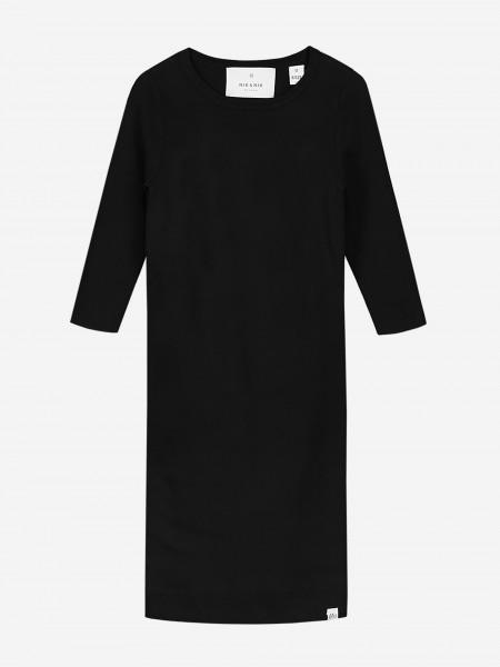 Zwarte jurk met driekwart mouwen
