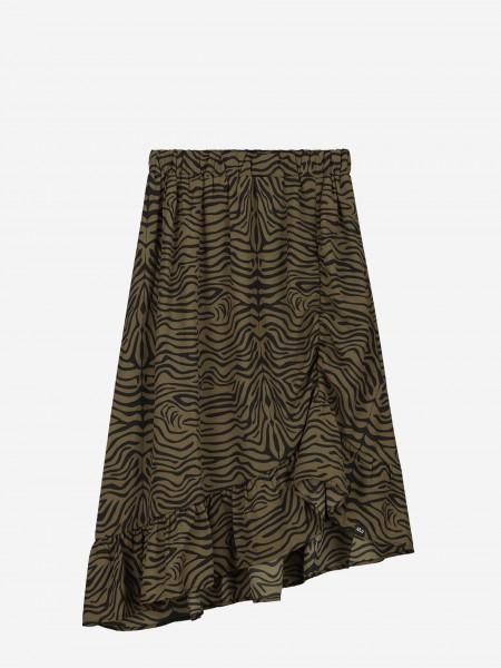 Asymmetrische rok met zebra print